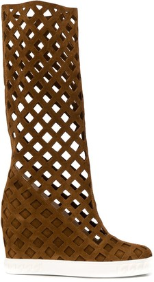 Casadei cut-out wedge boots
