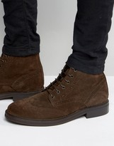 Asos Brogue Boots In Brown Suede With Heavy Sole