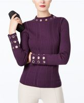 INC International Concepts Ribbed-Knit Mock-Neck Grommet Sweater, Created for Macy's