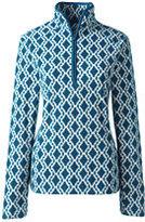 Lands' End Women's Tall 100 Everyday Fleece Half-zip-Grape Royale Striped