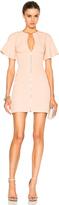 David Koma Front Zip Flounce Sleeve Mini Dress