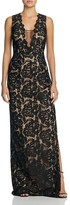 Aidan Mattox Illusion-Inset Lace Gown