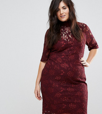 Lovedrobe Allover Floral Lace Pencil Dress With Tie Back Detail