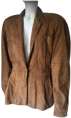 Claude Montana Beige Suede Leather Jacket for Women Vintage