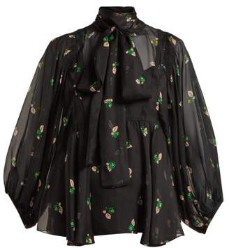 Rochas Pussy-bow Floral-print Silk Blouse - Womens - Black