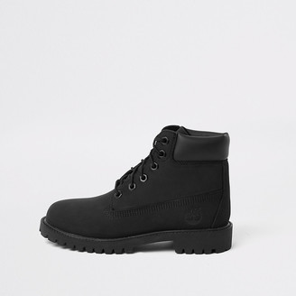 River Island Boys Timberland black lace-up boots