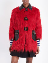 Gucci Leather-detail faux-fur coat