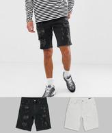 Asos Design DESIGN denim shorts in slim white & black with heavy rips
