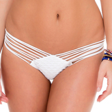 Luli Fama Strappy Brazilian Ruched Back Bottom In White (L50620)