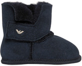 Armani Junior Suede & Faux Fur Boots
