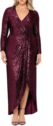 Xscape Evenings Long Sleeve Faux Wrap Sequin Gown