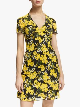Michael Kors MICHAEL Blossom V-Neck Dress, Black/Bright Dandelion