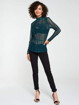 Very Lace Peplum Top - Forest Green