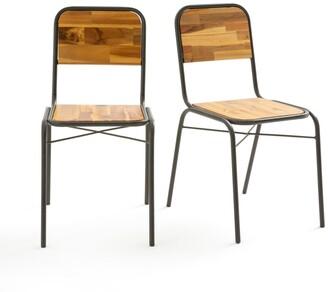 La Redoute La HIBA Tubular Steel & Wood Chairs (Set of 2)
