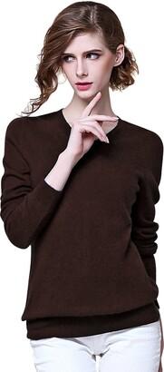 ZHILI Women's 100% Cashmere V Neck Long Sleeve Jumper Sweater Skirt (Dark Blue_Large)