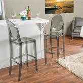 Baxton Studio Alvie Contemporary Gray Finish Plastic Bar Stool 2-Piece Set