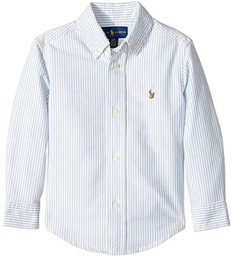 Polo Ralph Lauren Kids Striped Cotton Oxford Shirt (Toddler) (Light Blue Stripe) Boy's Long Sleeve Button Up