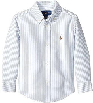Polo Ralph Lauren Striped Cotton Oxford Shirt (Toddler) (Light Blue Stripe) Boy's Long Sleeve Button Up
