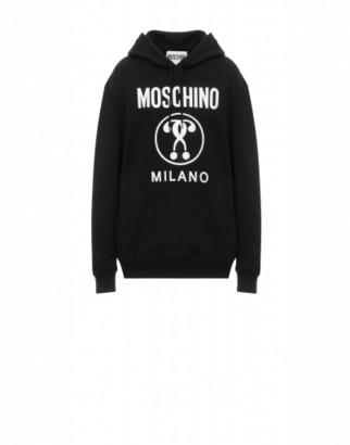 Moschino Double Question Mark Hooded Sweatshirt Woman Black Size 36 It - (2 Us)