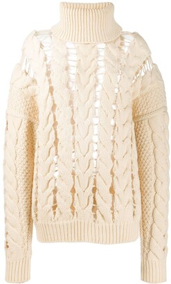 Zilver Roll Neck Cable Knit Jumper