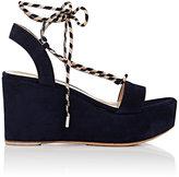 Gianvito Rossi Women's Ankle-Tie Suede Platform-Wedge Sandals-NAVY