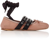 Miu Miu Women's Double Buckle Ankle-Tie Flats
