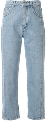 MSGM contrast stitching cropped jeans