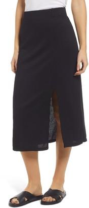 Everleigh Ribbed Front Slit Midi Skirt