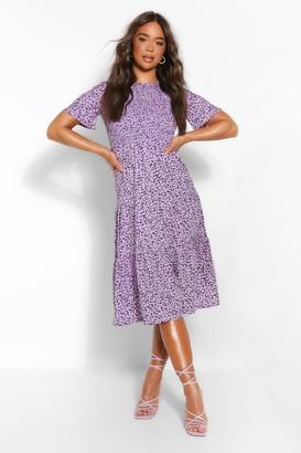 boohoo Printed Short Sleeve Midi Dress
