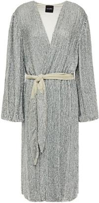 retrofete Audrey Velvet-trimmed Neon Sequined Chiffon Wrap Dress