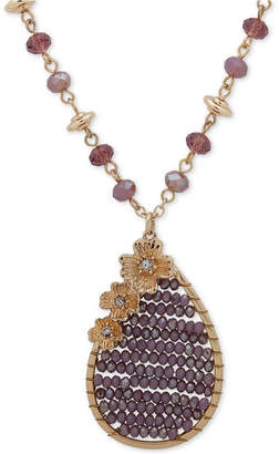 """lonna & lilly Gold-Tone Pave & Bead Pendant Necklace, 34"""" + 3"""" extender"""