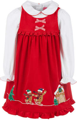 Good Lad Little Girls 2-Pc. Collared Top & Corduroy Gingerbread Jumper Set