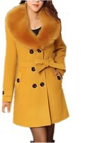 Dreamtao Women Faux Fur Collar Woolen Coat Winter Plus Size Casual Warm Outerwear Jacket