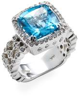 Effy Women's 14K White Gold, Diamond & Blue Topaz Ring