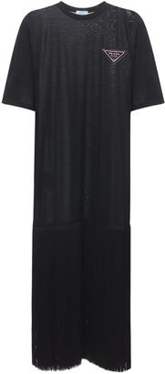 Prada Fringed Cotton Jersey Knee Length Dress