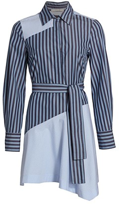 Derek Lam 10 Crosby Flora Asymmetrical Pieced Shirtdress