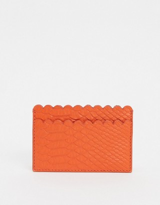 Paul Costelloe Leather Scalloped Edge Card Holder In Orange
