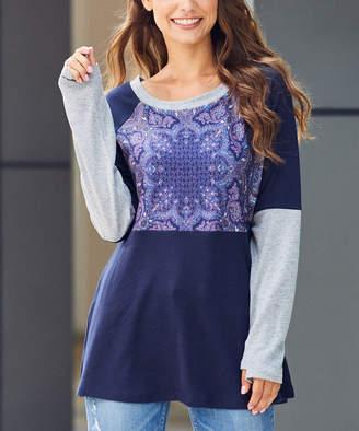 Luukse Women's Tunics 102NAVY/GREY - Navy & Gray Geometric Color-Block Long-Sleeve Tunic - Women