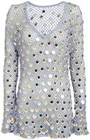 Caroline Constas Sequined Crochet Cover-Up Dress