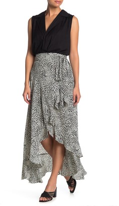 Nanette Lepore Leopard Print High/Low Wrap Skirt