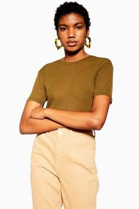 Topshop Khaki Plain Mesh T-Shirt
