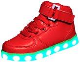 EGELBEL Unisex Kids High Top Light Up Sport Running Shoes USB Charging LED Luminous Sneakers 34