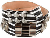 Balmain Patent Leather Striped Belt