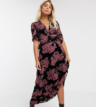 Twisted Wunder ruffle maxi tea dress in black floral burnout velvet