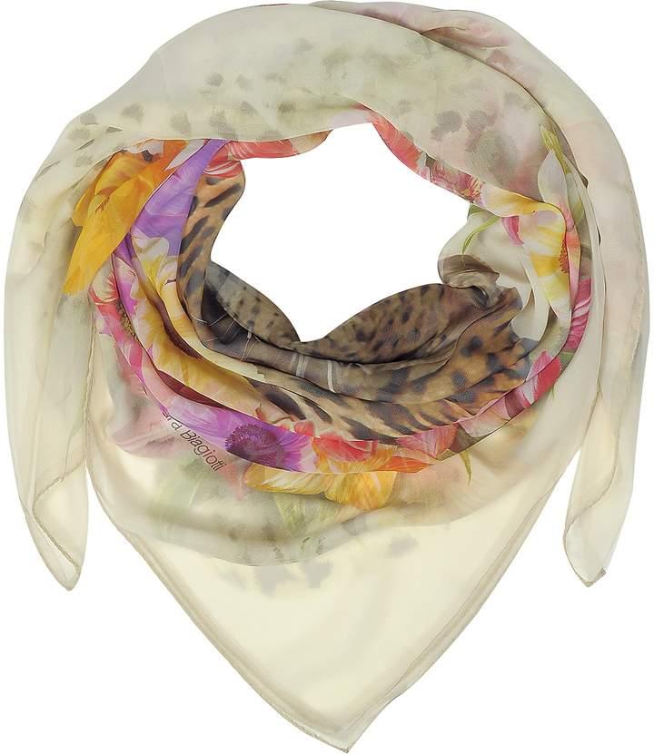 Laura Biagiotti Beige Leopard and Flowers Print Silk Shawl