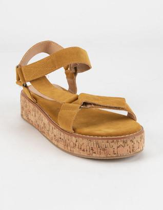 MI.IM Alison Cork Womens Mustard Platform Sandals