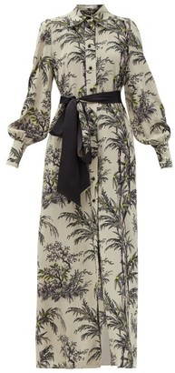 Bella Freud Mood For Love Chinoiserie-print Silk Shirt Dress - Grey