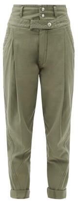 Frame High-rise Cotton Military Trousers - Khaki
