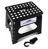 Kolob Mountain Folding Step Stool with Storage Hook and Carrying Handle - Anti Slip Dots in Black