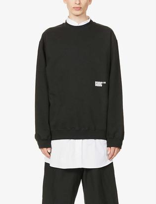 Oamc Daido brand-print cotton-jersey sweatshirt